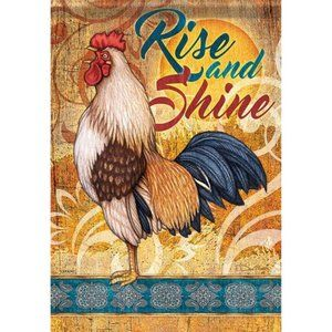 Garden Flag-NEW- Country Rooster Chicken Farm Barn